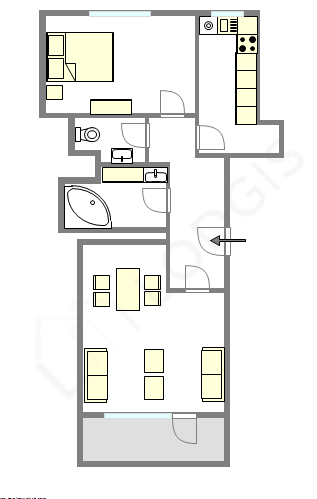 Wohnung Paris 4° - Interaktiven Plan