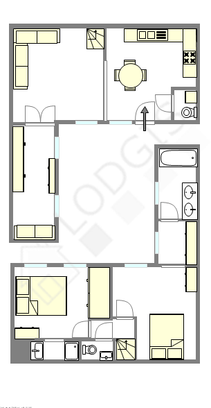 Duplex Paris 3° - Plan interactif