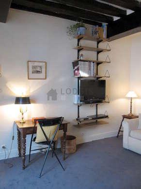 Séjour équipé de 1 canapé(s) lit(s) de 140cm, téléviseur, lecteur de dvd, penderie
