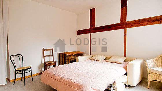 Living room with linoleum floor