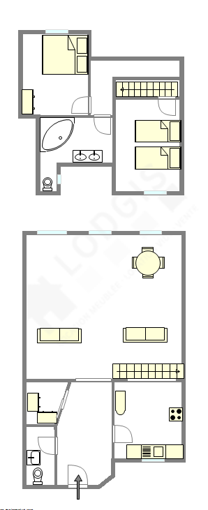 Duplex Paris 4° - Plan interactif