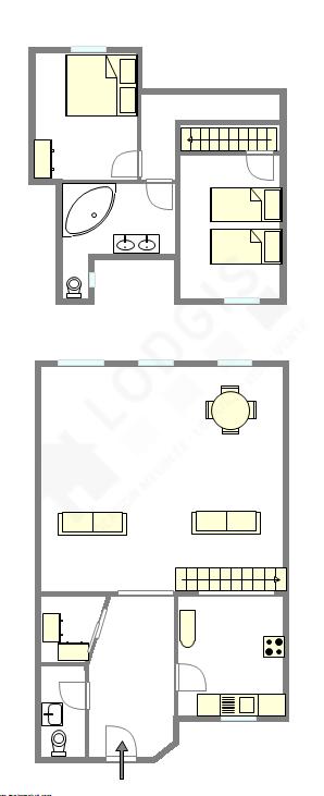 Duplex Paris 4° - Plan interactif