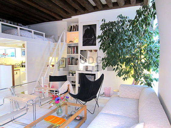 Quiet living room furnished with 1 loft bed(s) of 140cm, hi-fi stereo, 5 armchair(s)