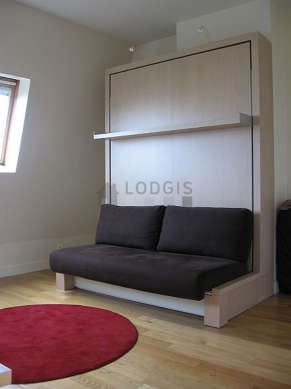 Quiet living room furnished with 1 murphy bed(s) of 160cm, tv, hi-fi stereo