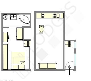 Duplex Paris 7° - Plan interactif