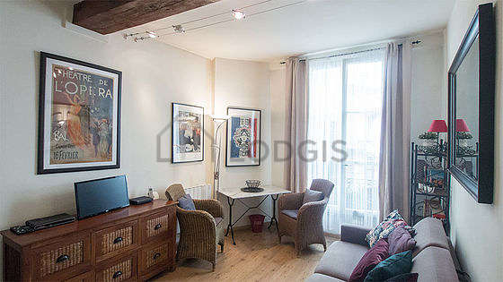 Quiet living room furnished with 1 sofabed(s) of 90cm, tv, hi-fi stereo, 2 armchair(s)