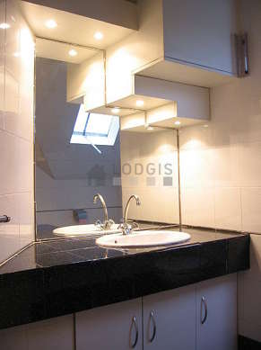 Salle de bain claire avec fenêtres et de la moquette au sol