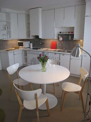 Beautiful kitchenopens on the living room