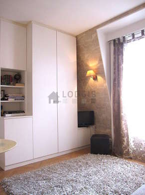 Very quiet living room furnished with 1 sofabed(s), tv, closet, cupboard