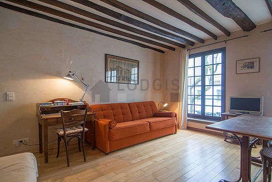 Séjour très calme équipé de 1 lit(s) d'appoint de 80cm, 1 canapé(s) lit(s) de 160cm, téléviseur, chaine hifi