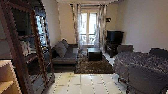 Very quiet living room furnished with 1 sofabed(s) of 140cm, tv, closet, 4 chair(s)