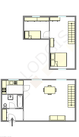 Duplex Paris 16° - Interactive plan