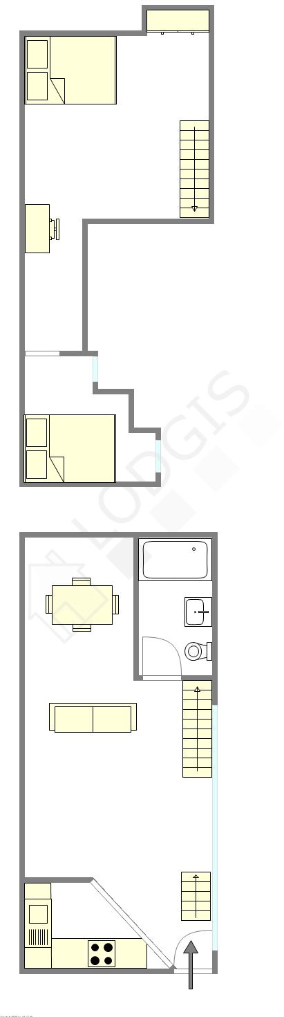 双层公寓 巴黎4区 - 平面图