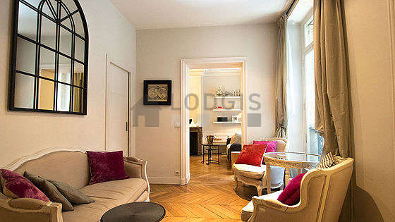 Very quiet living room furnished with 1 futon(s) of 140cm, tv, 2 armchair(s)