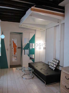 Very quiet living room furnished with 1 loft bed(s) of 120cm, sofa, coffee table, wardrobe