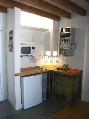 Kitchen with concrete floor